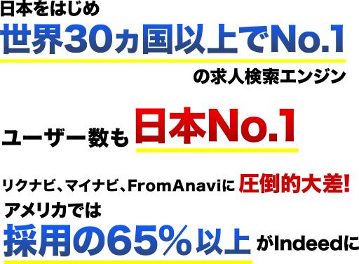 日本をはじめ世界30カ国以上でNo.1の求人検索エンジン